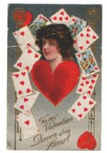 Queen of hearts playing card postcard Valentine 1913